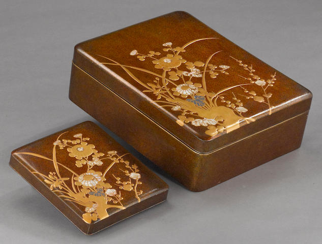 A gold lacquer bunko and suzuribako set with inlaid accents Meiji/Taisho Period