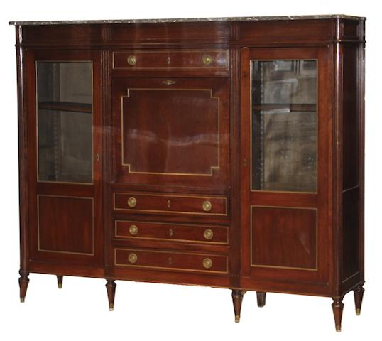 A Louis XVI style mahogany secretaire/bibliotheque