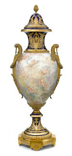 A Sèvres style earthenware gilt bronze mounted covered vase <BR />early 20th century