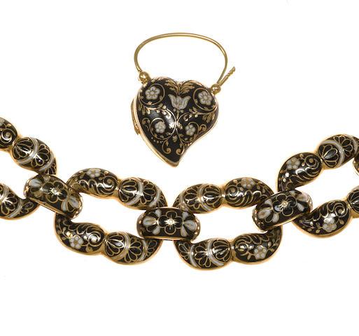 An antique fourteen karat gold and enamel bracelet,