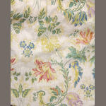A group of eight Sister Parish floral chintz drapery panels, four valances and matching bolt of fabric