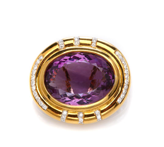 An amethyst, diamond and 14k bicolor gold brooch-enhancer