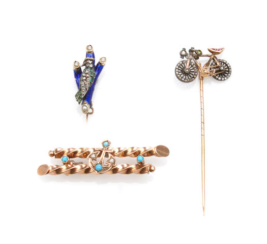 A collection of three gem-set, diamond, enamel, metal and gold jewelry