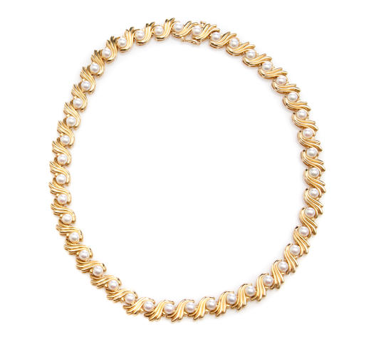 A cultured pearl and 14k gold necklace