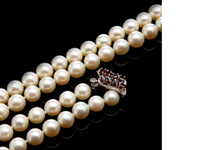A cultured pearl, ruby and 14k white gold necklace