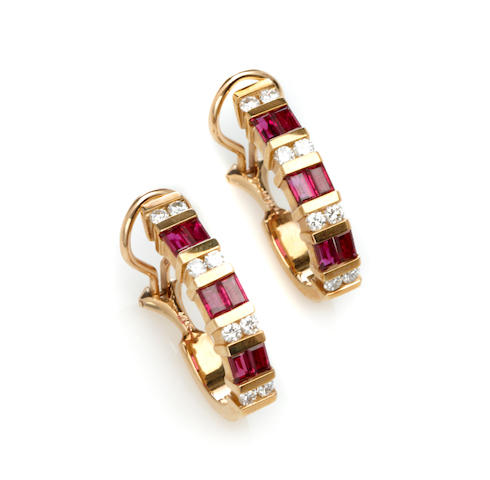 "A pair of ruby, diamond and 14k gold ""J"" hoop earclips"