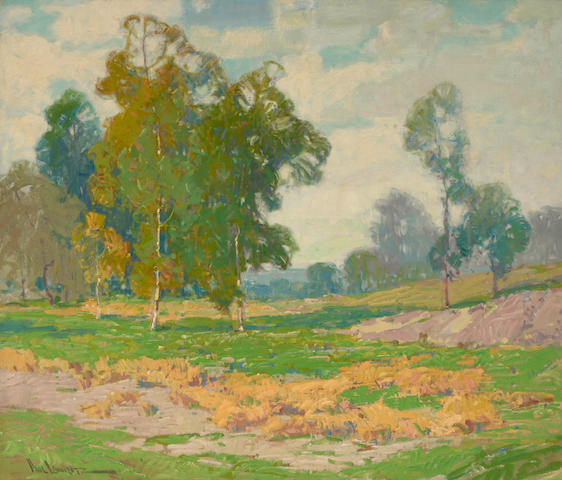 Paul Lauritz (Norwegian/American, 1889-1975) Eucalyptus and green fields 34 x 40in