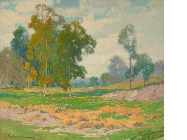 Paul Lauritz (Norwegian/American, 1889-1975) Eucalyptus and green fields 30 x 40in