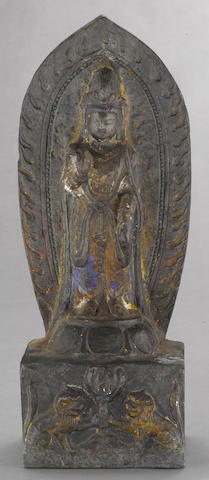 An archaistic carved stone sculpture of a Bodhisattva  Northern Qi style