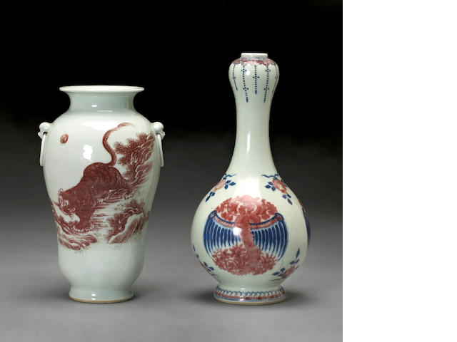 Two porcelain vases with underglaze red and blue  decoration Late Qing