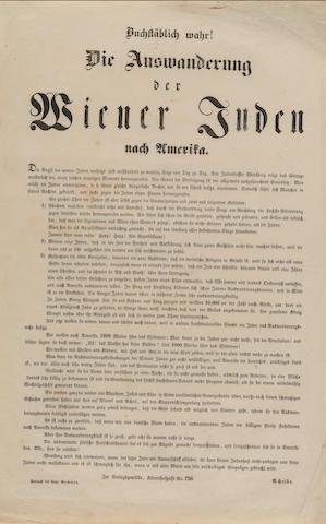 ANTI-SEMITISM—AUSTRIA. Buchstablich wahr! Die Auswanderung der Wiener Juden nach Amerika. [Vienna]: Leopold Sommer, [1848].