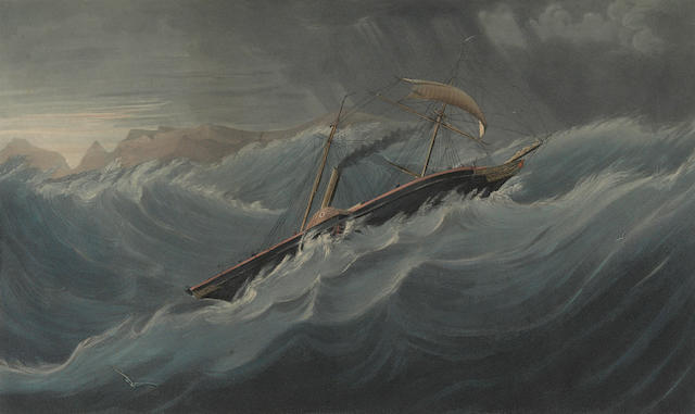 THE NEMESIS. The Honourable East India Company's Iron War Steamer, The Ship Nemesis. Scudding before a Heavy Gale off the Cape of Good Hope on Her Passage from England to China. London: Colnaghi & Puckle, 1841.
