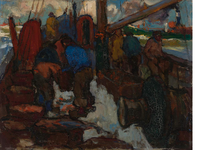 Armin Hansen (American, 1886-1957) At the fishing grounds 15 1/2 x 19 1/2in