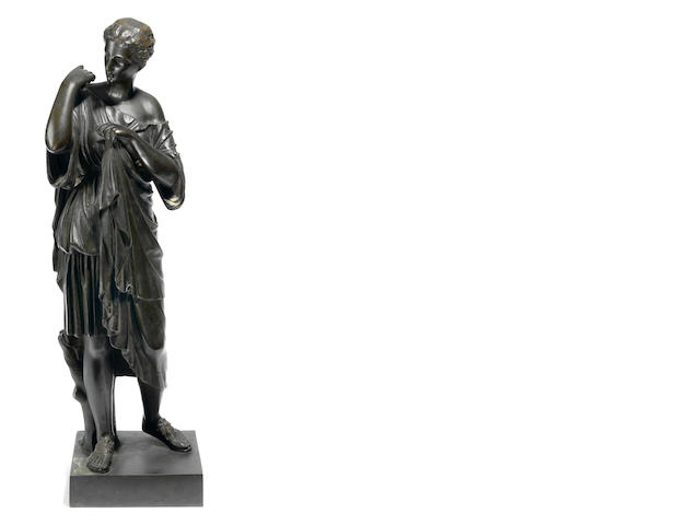 A French patinated bronze figure of Diane de Gabies <BR />after the antique<BR />late 19th century