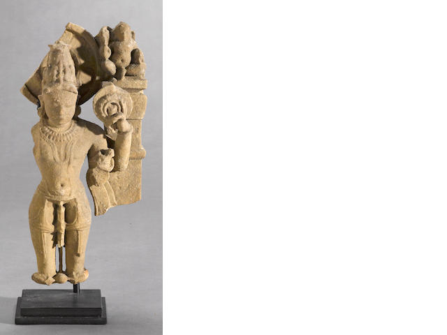 An Indian 10th century figural fragment depicting Vishnu