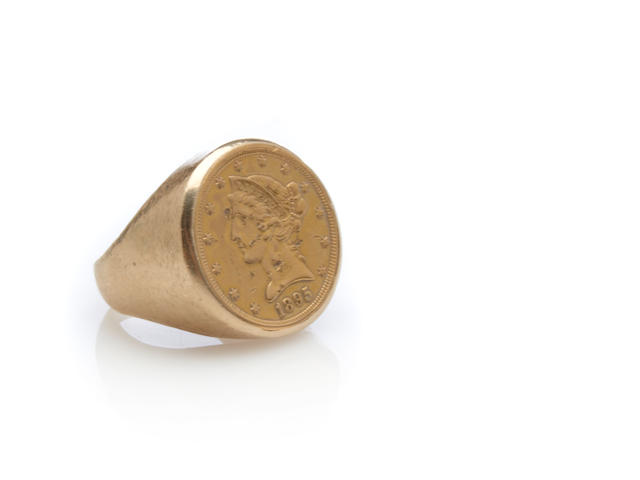 A US $5 gold coin and 14k gold men's ring