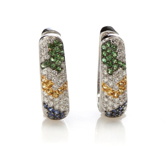 A pair of gem-set, diamond and 18k white gold earrings