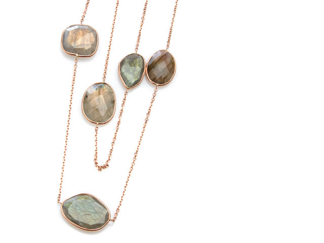A labradorite feldspar and 14k rose gold link necklace