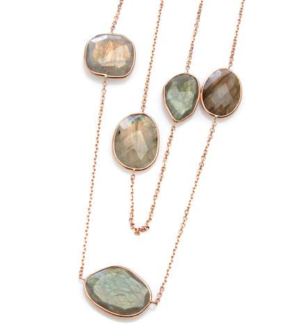 A labradorite feldspar and 14k rose gold link necklace