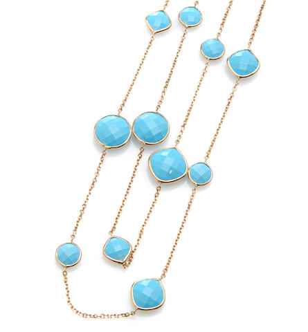 A turquoise and 14k yellow gold link necklace