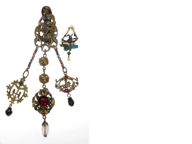 An Austrian Renaissance style silver and enamel pendant of St. George and the Dragon and a Continental silver and metal chatelaine type pendant late 19th century