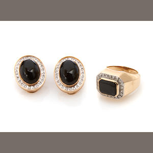 A group of black onyx, diamond and 14k gold jewelry