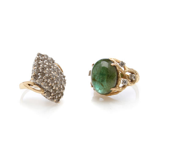 A diamond and 14k gold cluster ring together with a  green tourmaline, diamond and 14k gold ring