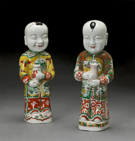 Two famille verte enameled porcelain figures Late Qing/Republic period