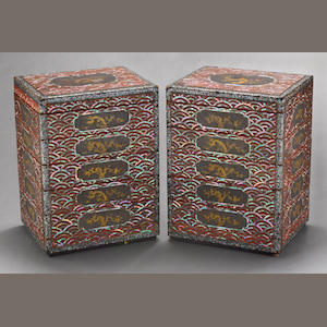 A pair of inlaid lacquer six-tier food containers. Ryuku Islands, 18th/19th century