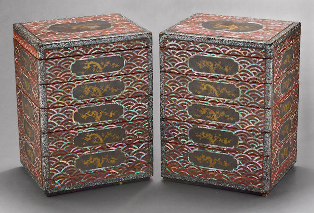 A pair of inlaid lacquer six-tier food containers Ryuku Islands, 18th/19th century