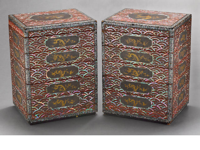 A pair of inlaid lacquer six-tier food containers<BR />Ryuku Islands, 18th/19th century