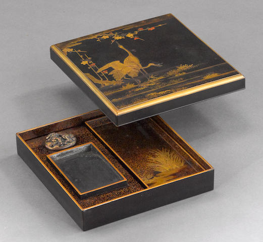 A gilt and black lacquer suzuribako<BR />19th century