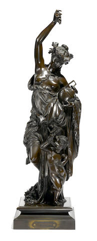 A French patinated bronze figural group: Automne  after a model by Albert Carrier-Belleuse (French, 1824-1887) early 20th century