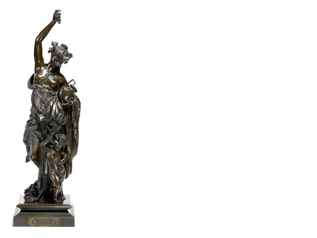 A French patinated bronze figural group: Automne <BR />after a model by Albert Carrier-Belleuse (French, 1824-1887)<BR />early 20th century