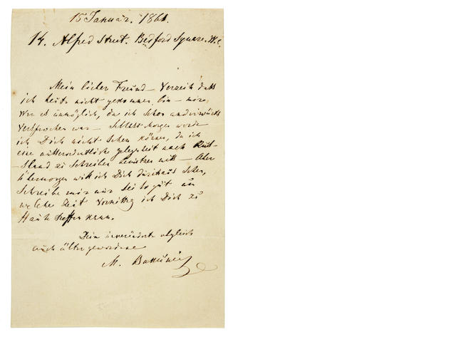 "BAKUNIN, MIKHAIL. 1814-1876. Autograph Letter Signed (""M. Bakǔnin""), 1 p, 8vo, Bedford Square, London, January 15, 1861 [but 1862],"