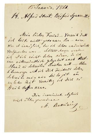"BAKUNIN, MIKHAIL. 1814-1876. Autograph Letter Signed (""M. Bakǔnin""), 1 p, 8vo, Bedford Square, London, January 15, 1861 [but 1862],"