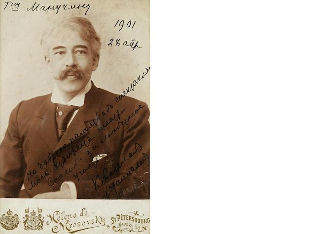 "STANISLAVSKY, CONSTANTIN. 1863-1938. Photograph Signed (""K. Alexeev"") and Inscribed,"