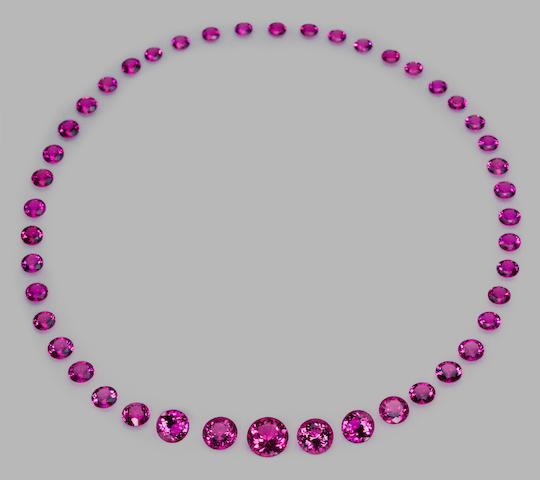 Extraordinary Gem-Quality Hot Pink Tourmaline Necklace Suite