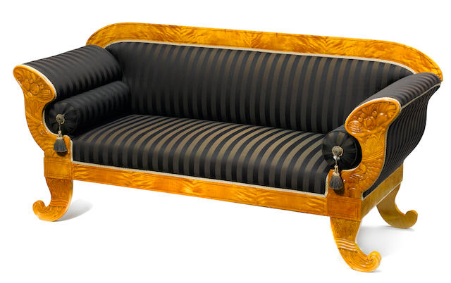 A Biedermeier satin birch settee
