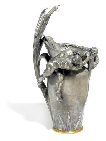 A large French gilt bronze mounted pewter vase <BR />after a model by Alphonse Saladin (French, 1878-1956)<BR />Siot Decauville foundry, Paris<BR />early 20th century