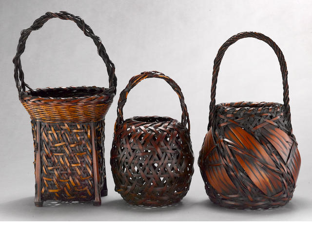 A group of three bamboo flower baskets Taisho/Early Showa period