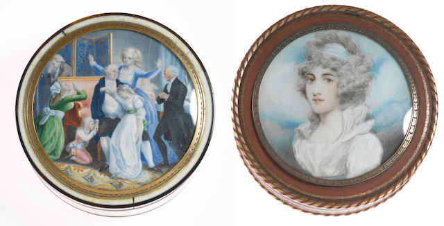 Two French bonbonnière each inset with miniature paintings the first painted by Elie Dignat (French, fl. 1808 - 1824)<BR />fourth quarter 18th/first quarter 19th century