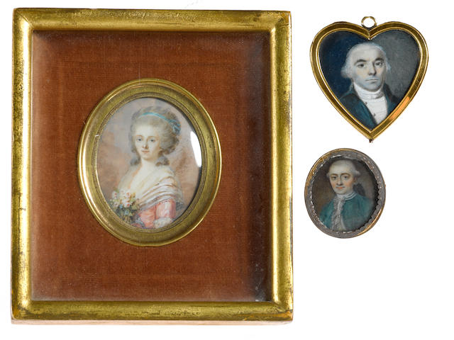 Three portrait miniatures fourth quarter 18th century