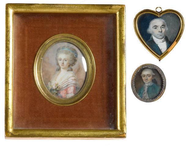 Three portrait miniatures fourth quarter 18th century