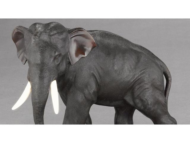 A patinated bronze elephant<BR />Sekiya Company, Meiji period