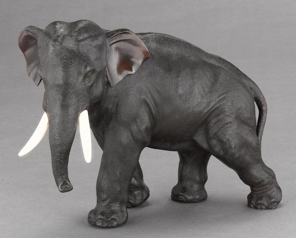 A patinated bronze elephant Sekiya Company, Meiji period