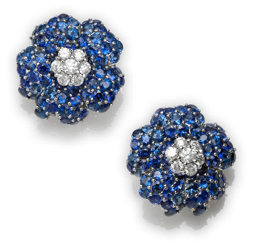 A pair of sapphire and diamond flower earclips