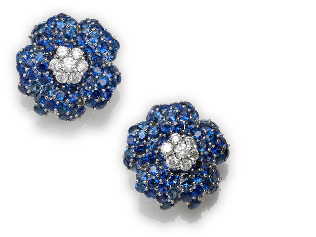 A diamond and sapphire earrings
