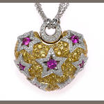 A sapphire and diamond puffed heart pendant with chain, Drake