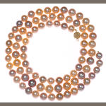 A rose-purple cultured pearl multi-color strand with 14 karat gold clasp length 34in